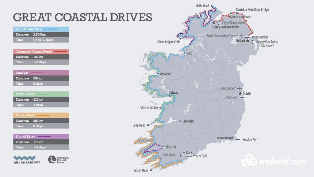 Map Of Ireland Headlands.Touring The Wild Atlantic Way Camping Ireland